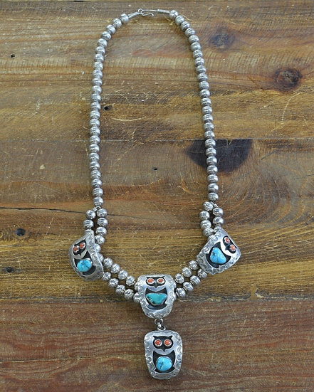 Vintage Navajo Sterling Silver Turquoise and Coral Owl Necklace by Juan Abeyta