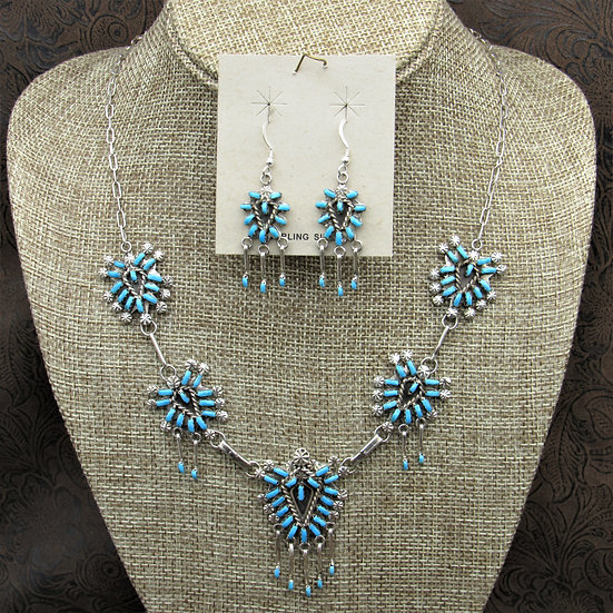 Sterling Silver Zuni Cluster Turquoise Necklace And Earrings Set By Leekity