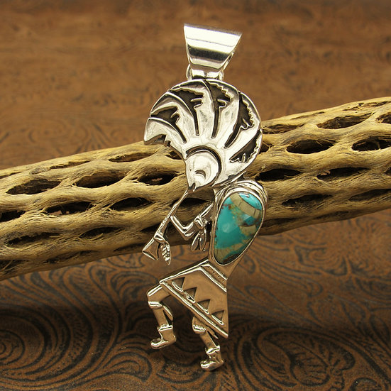 Sterling Silver Kokopelli Turquoise Pendant
