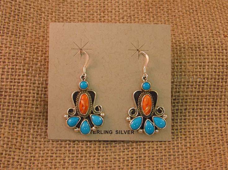 Navajo Turquoise & Spiny Oyster Sterling Silver Dangle Earrings