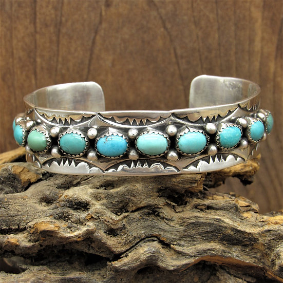 Vintage Navajo Sterling Silver Turquoise Cuff Bracelet by Rose Castillo Draper