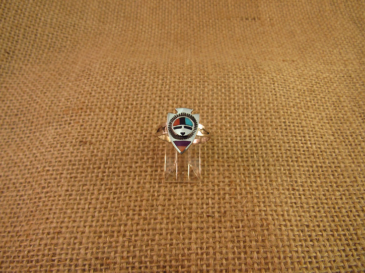 Zuni Sunface Inlay Sterling Silver Arrowhead Ring Size 8