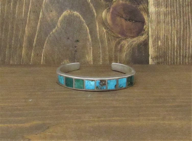 Vintage Turquoise Inlay Sterling Silver Cuff Bracelet