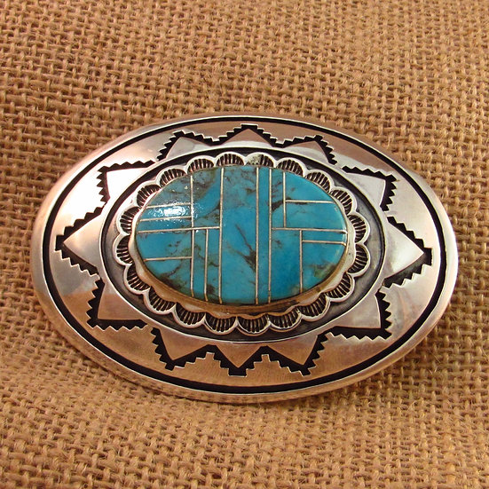 Navajo Turquoise Inlay Silver Belt Buckle