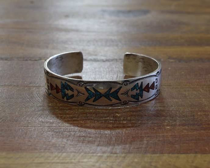 Vintage Turquoise and Coral Chip Inlay Sterling Silver Cuff Bracelet