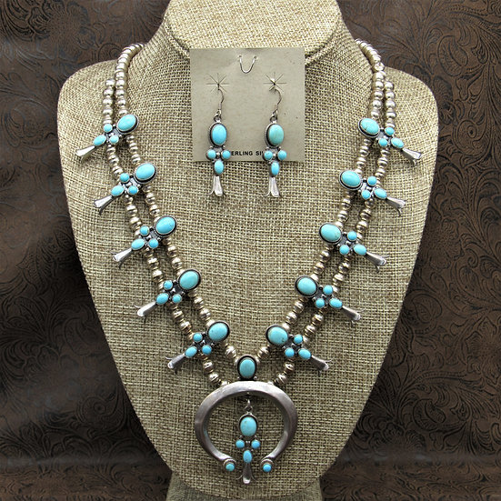 Southwest Sterling Silver and Turquoise Squash Blossom and Earrings Set