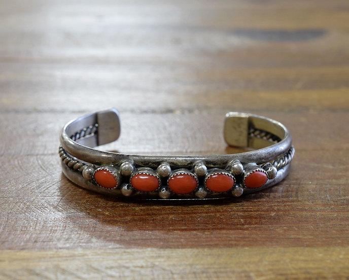 Vintage Southwestern Sterling Silver And Coral Cuff Bracelet