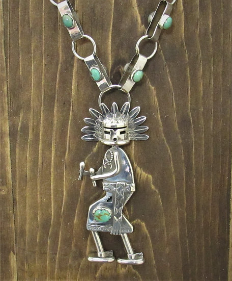 Navajo Morning Singer Necklace with Turquoise & Handmade Chain by Nathan Morgan
