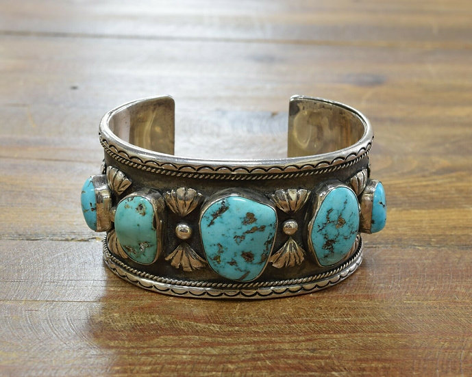 Vintage Navajo Sterling Silver and Turquoise Men's Bracelet by Mary Claw