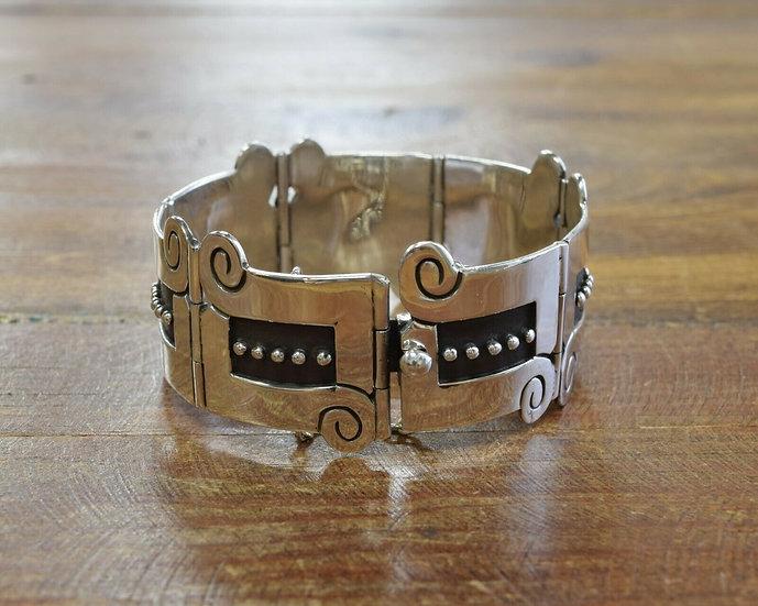 Vintage Sterling Silver Taxco Mexico Link Bracelet