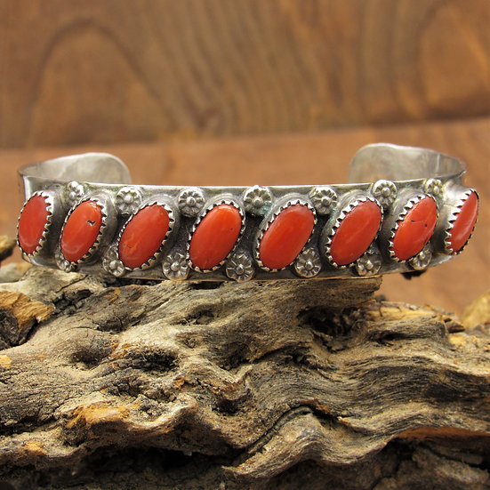 Southwest Sterling Silver and Coral Cuff Bracelet