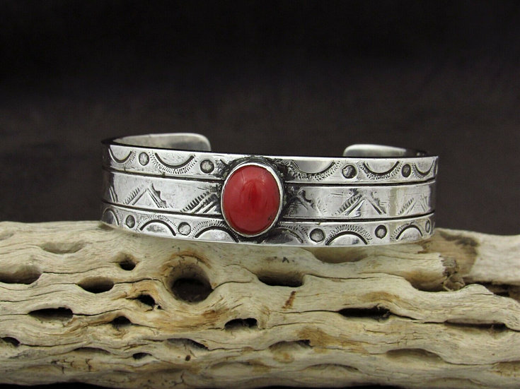 Coral Stamped Sterling Silver Cuff Bracelet