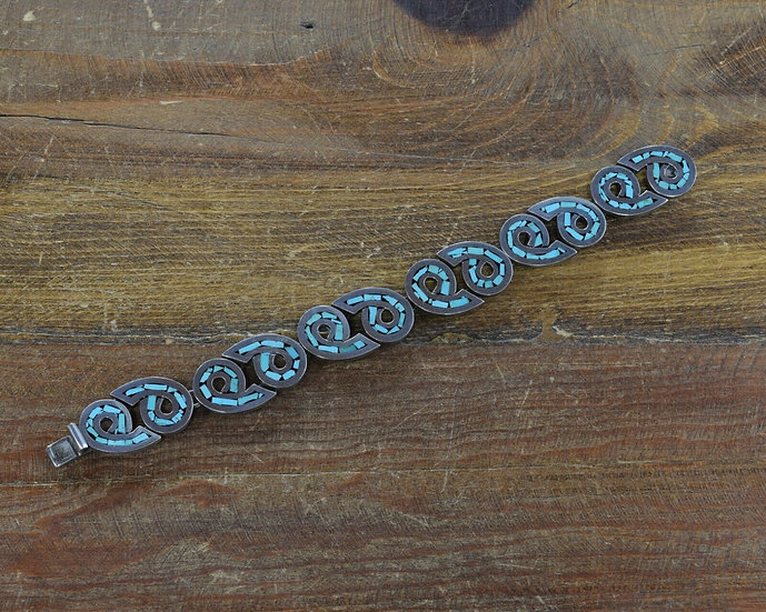 Vintage Sterling Silver Chip Inlay Turquoise Link Bracelet