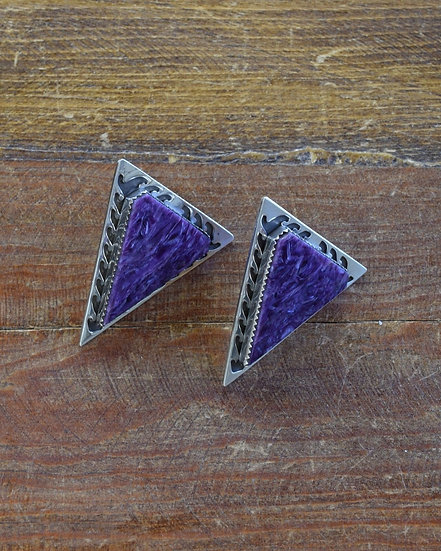 Vintage Southwestern Sterling Silver And Charoite Triangle Earrings