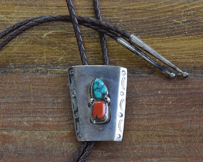 Vintage Southwestern Sterling Silver Turquoise And Red Coral Bolo Tie