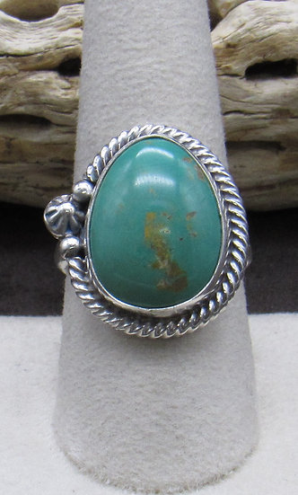Navajo Sterling Silver and Turquoise Ring By Wydell Billie Size 9 1/4