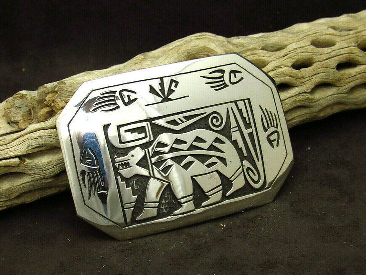 Navajo Sterling Silver Overlay Bear Buckle by Sonny Gene
