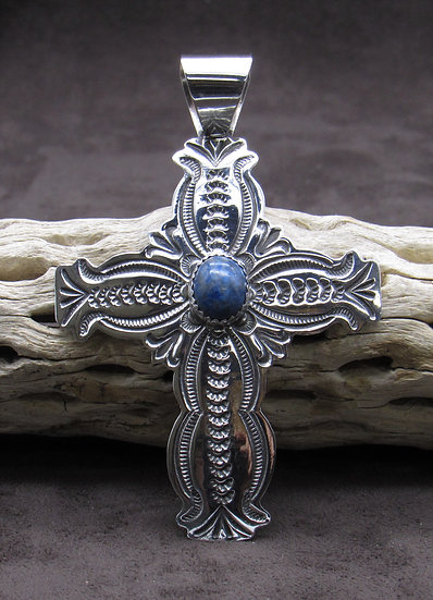 Large Denim Lapis Sterling Silver Cross Pendant