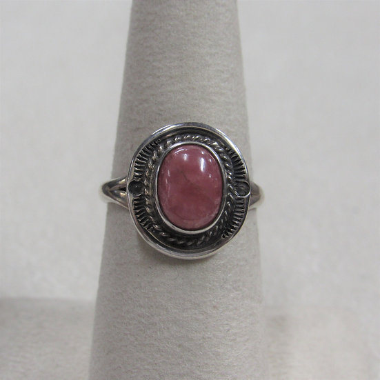 Sterling Silver and Rhodochrosite Ladies Size 7 Ring
