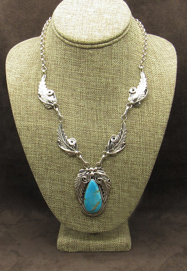 Sterling Silver Leaf Scroll Turquoise Necklace
