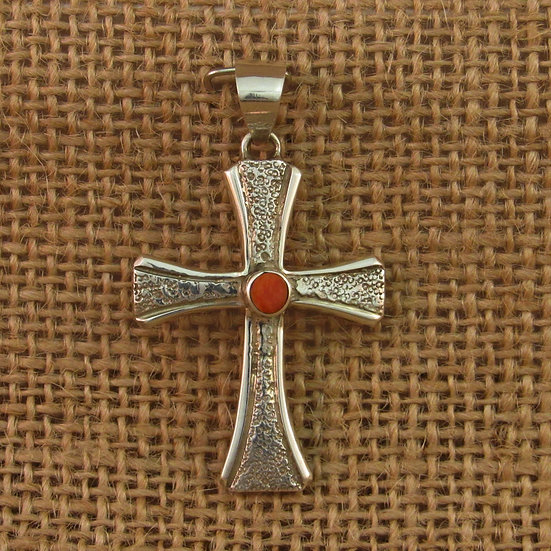 Navajo Spiny Oyster Sterling Silver Cross Pendant