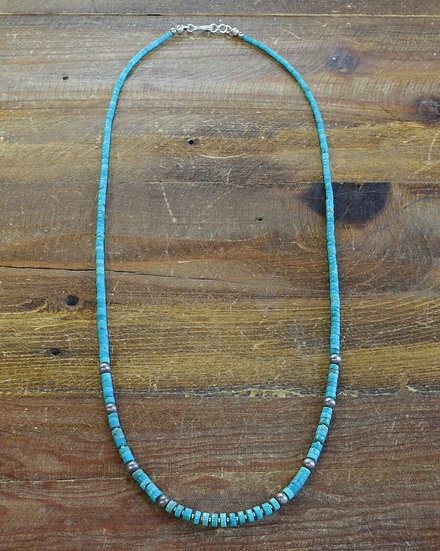 Southwestern Graduated Turquoise Sterling Silver Beaded Necklace