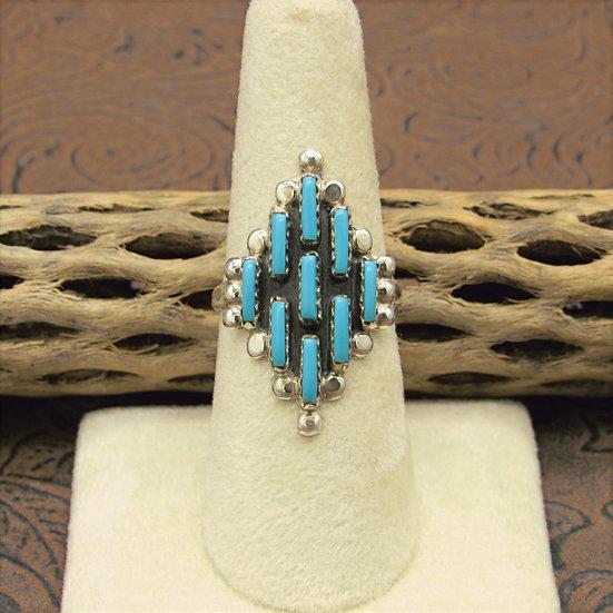 Diamond Shaped Needlepoint Block Turquoise Ring Size 8 3/4