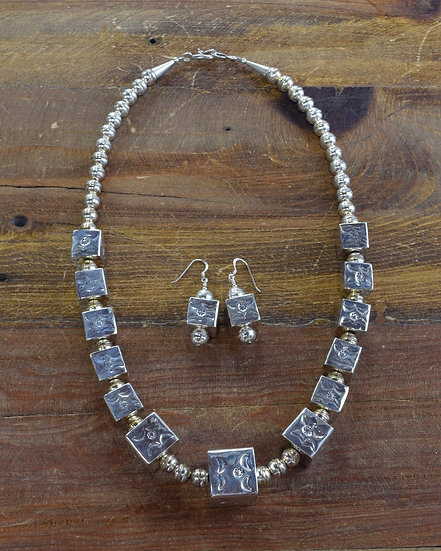 Southwest Sterling Silver Cube Necklace and Earring Set
