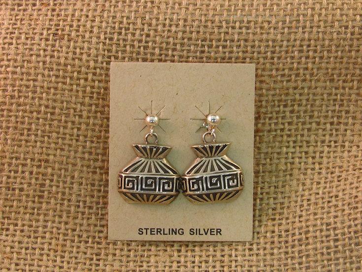 Navajo Vase Sterling Silver Post Earrings