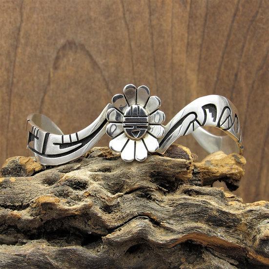 Unusual Hopi F Puhuhefvaya Sun Kachina Mask Sterling Silver Cuff