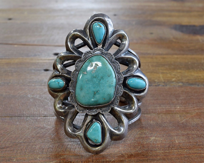 Vintage Southwest Sterling Silver and Turquoise Sand Cast Cuff
