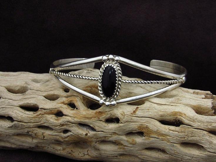 Sterling Silver Onyx Cuff Bracelet