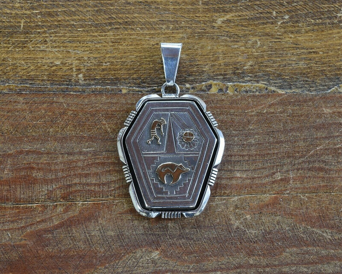 Vintage Sterling Silver and 14K Gold Pendant by Lee Bennett