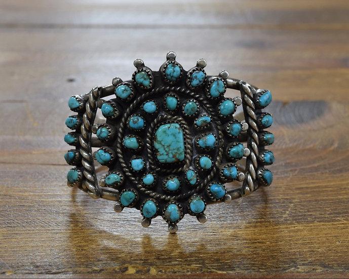 Vintage Native American Sterling Silver Turquoise Petit Point Cluster Bracelet