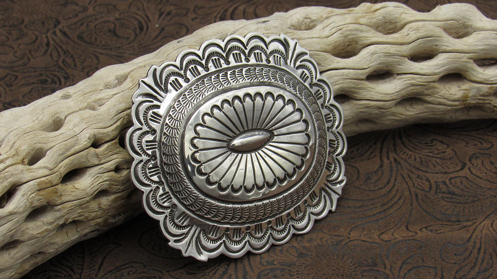Sterling Silver Concho Belt Buckle by Carson Blackgoat