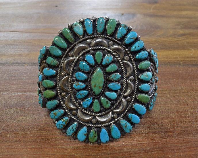 Vintage Navajo Turquoise Cluster Sterling Silver Cuff Bracelet