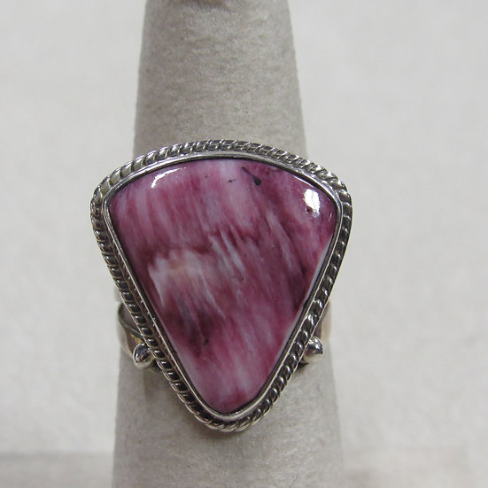 Southwest Sterling Silver and Purple Spiny Oyster Shell Ring Size 6