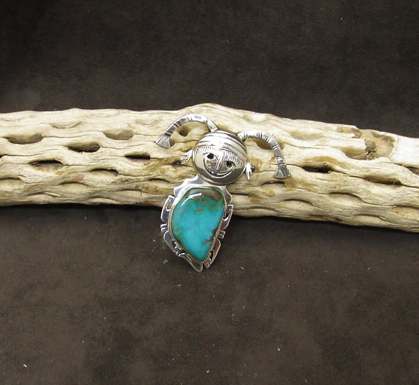 Navajo Sterling Silver and Turquoise Clown Kachina Pin by Nelson Morton