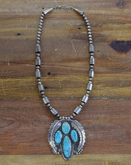 Vintage Southwest Turquoise Sterling Silver Necklace