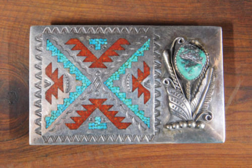 Vintage Navajo Sterling Silver Turquoise and Coral Chip Inlay Belt Buckle