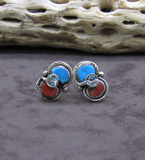 Turquoise and Coral Snake Cuff Links by Effie Calavaza