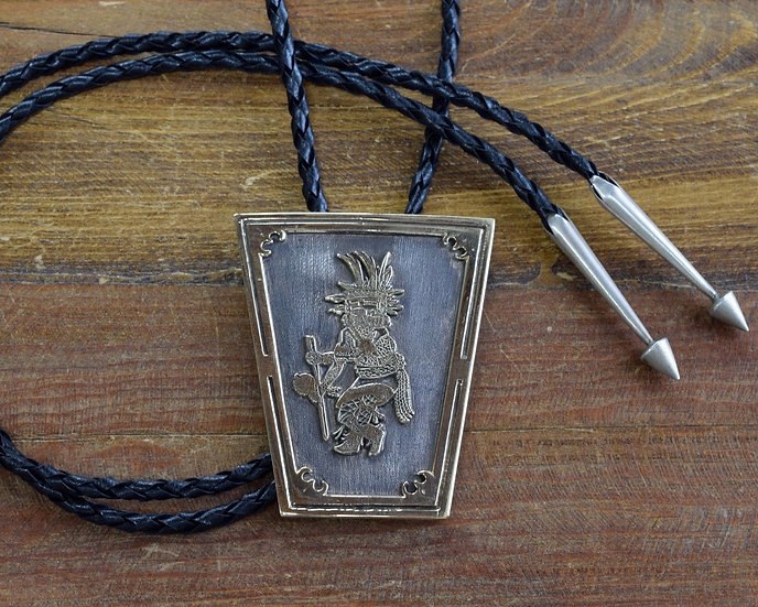 Vintage Navajo Kachina 14K Yellow Gold and Sterling Silver Overlay Bolo Tie