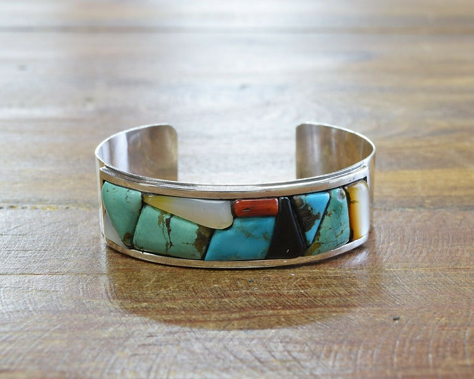 Vintage Multi-Color Cobblestone Inlay Sterling Silver Cuff Bracelet