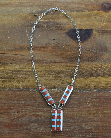 Vintage Sterling Silver Turquoise and Coral Inlay Necklace