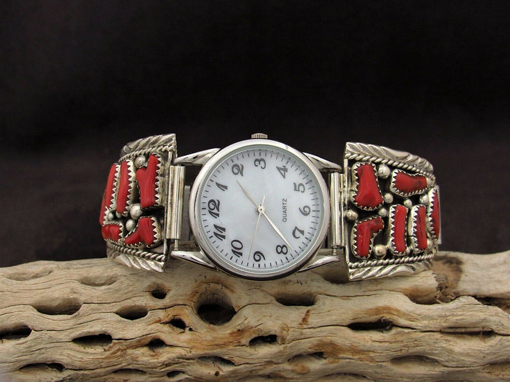 Southwestern Coral Sterling Silver Watch Band