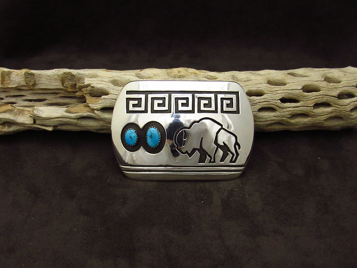 Navajo Sterling Silver Overlay Buffalo Turquoise Buckle by Rosco Scott