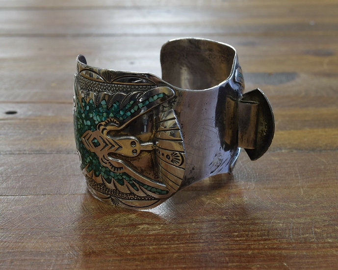 Vintage Sterling Silver Peyote Bird Turquoise Chip Inlay Watch Cuff Bracelet