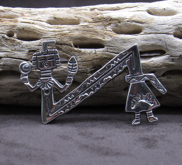 Sterling Silver Yei Pin Made By Navajo Artist Alfred Martinez