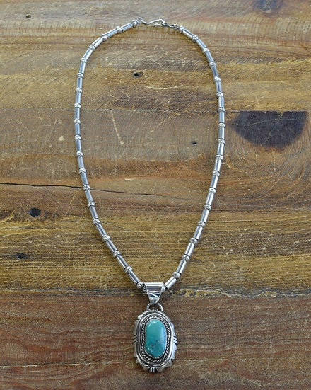 Vintage Navajo Sterling Silver and Turquoise Necklace by Rita Touchine
