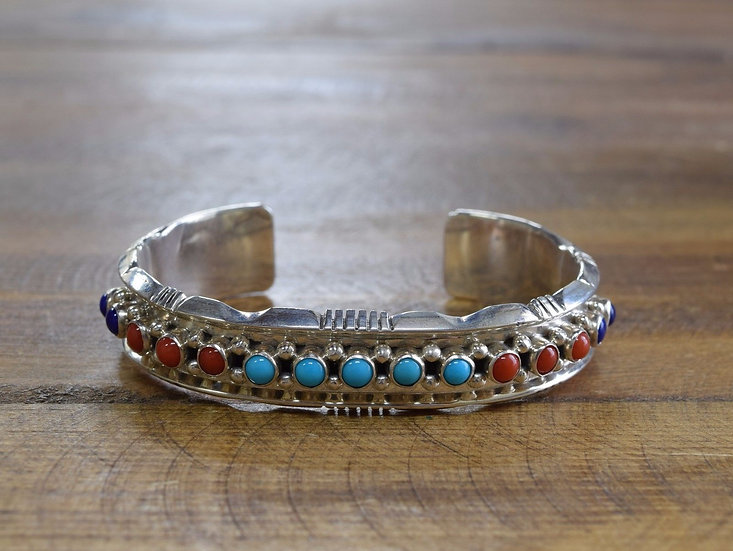 Remarkable Turquoise, Coral and Blue Lapis Cuff by Running Bear